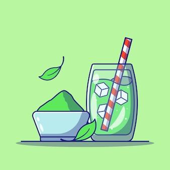 Matcha grüntee getränke mit eiswürfeln in einem glas