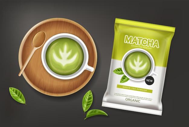 Matcha-grüntee-pulvervektor realistisch. produktplatzierung verspottet etikettendesigns für gesunde getränke