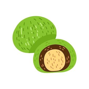Matcha japanische dessert-cartoon-illustration, mochi, daifuku. matcha grüner tee mochi dessert-vektor-illustration isoliert auf weißem hintergrund. asiatisches japanisches und chinesisches traditionelles essen.