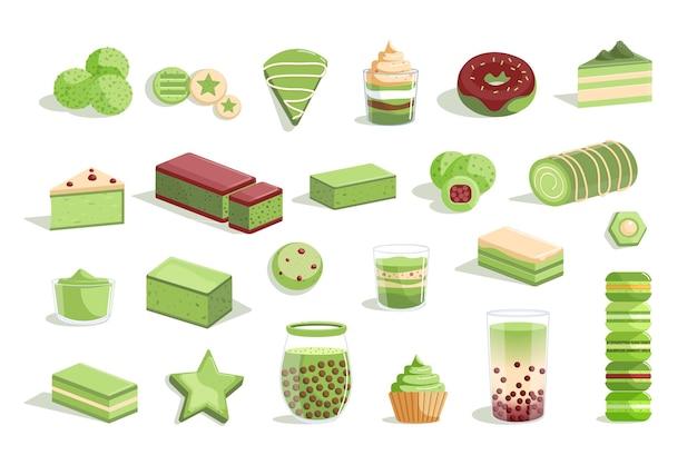 Matcha-set aus grünem tee und süßem dessert