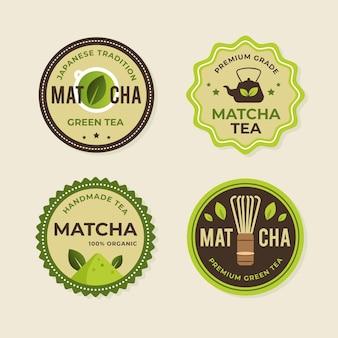 Matcha tee abzeichen gesetzt