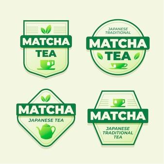 Matcha tee abzeichen konzept