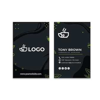 Matcha-tee doppelseitige vertikale visitenkartenvorlage