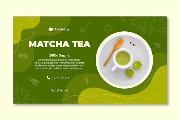 Matcha-tee horizontale bannervorlage