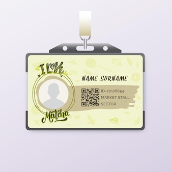Matcha tee id-kartenvorlage