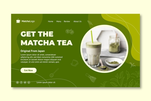 Matcha-tee-landingpage-vorlage