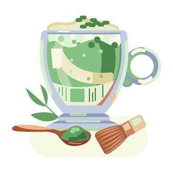 Matcha-tee mit sahne in einer glastasse