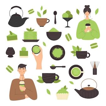 Matcha-tee, satz von elementen. traditionelle japanische teezeremonie. grüner tee, gesundes essen, desserts, tassen, teekannen. illustration im flachen stil