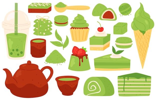 Matcha-tee und süßigkeiten. japanische grüne matcha-produkte, pulver, blätter, teekanne und tassen, bubble tea. gesundes gebäck und desserts vektor-set. grüne natürliche bio-süßigkeit, tee oder getränkegetränk