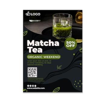 Matcha-tee vertikale flyer-vorlage