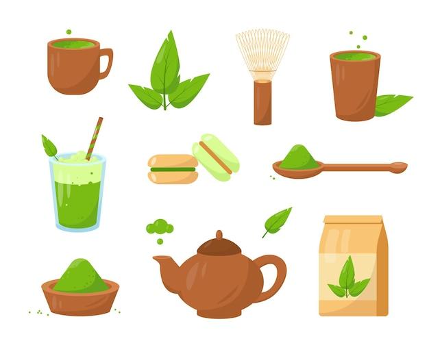 Matcha teeprodukte. set löffel, schneebesen, grüner tee und desserts.