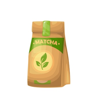 Matcha-teepulver in kraftpapierverpackung mit teeblattillustration