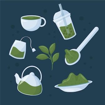 Matcha teesammlung mit pflanze