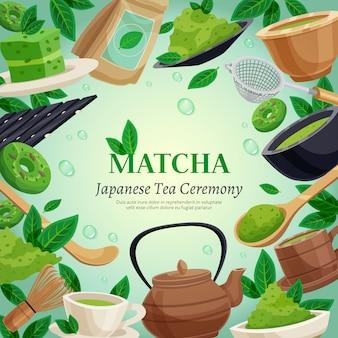 Matcha-teezeremonie-hintergrundschablone