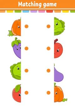 Matching-spiel. zeichne eine linie. arbeitsblatt zur bildungsentwicklung. aktivitätsseite mit farbbildern. rätsel für kinder.