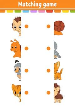 Matching-spiel. zeichne eine linie. arbeitsblatt zur bildungsentwicklung. aktivitätsseite mit farbbildern.