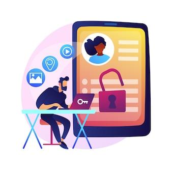 Matchmaking-website-idee. soziales netzwerk, geolocation-suche. benutzerkonto. persönliches profil, surfen im internet, online-dating-service. isolierte konzeptmetapherillustration