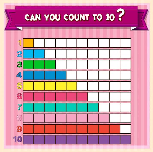 Mathe-arbeitsblatt mit zählen bis zehn