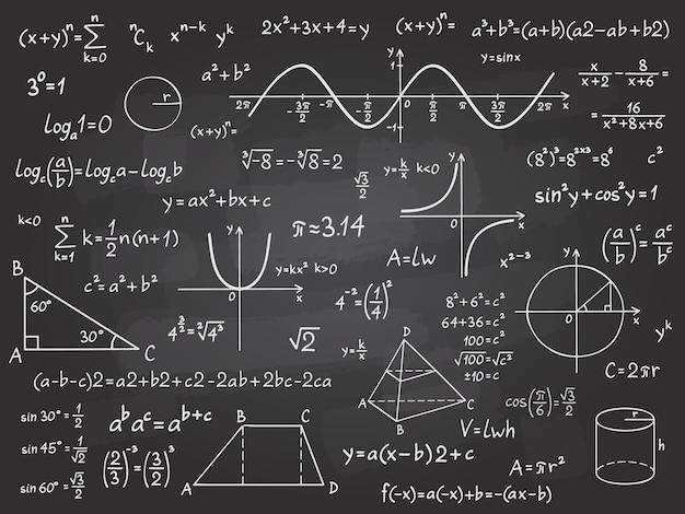 Mathe formel. mathematikkalkül auf schultafel. algebra und geometrie wissenschaft kreidemuster vektor bildungskonzept. wissenschaftliche analyse, zahlenberechnung, komplexes wissen Premium Vektoren