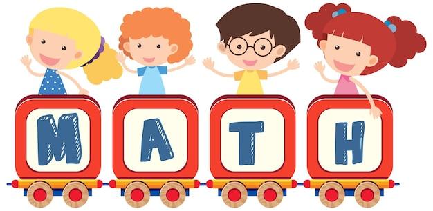 Mathe-schriftart-banner mit cartoon-kindern