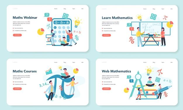 Mathe-schulfach-web-banner oder landingpage-set. mathematik lernen, vorstellung von bildung und wissen. naturwissenschaften, technik, ingenieurwesen, mathematikunterricht.