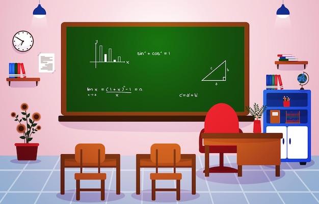Mathe-schulklasse klassenzimmer tafel tisch stuhl bildung illustration