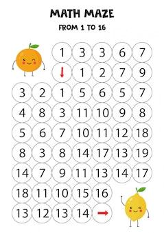 Mathe-spiel für kinder. niedliche kawaii zitrone und orange.