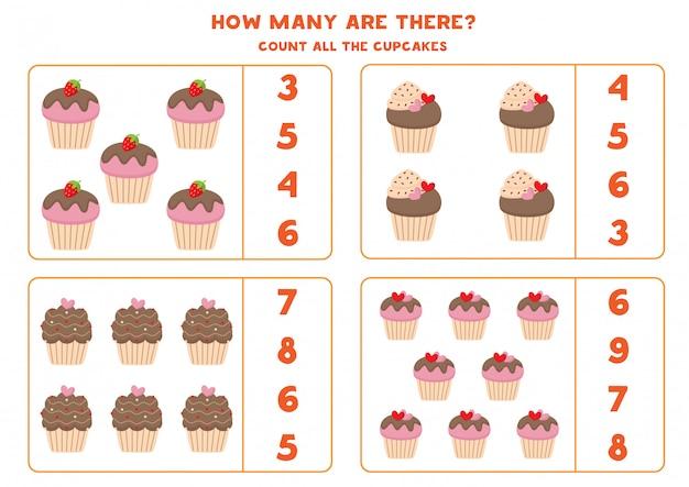 Mathe-spiel mit cupcakes. zähle und kreise die richtige antwort ein.