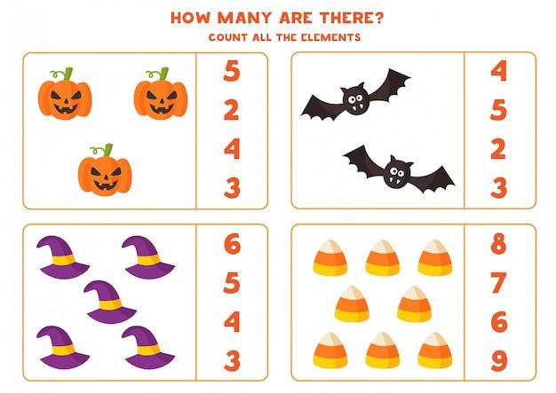 Mathe-spiel mit gruseligen cartoon-halloween-elementen.