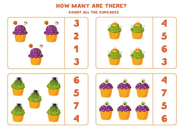 Mathe-spiel mit niedlichen cartoon-halloween-muffins.