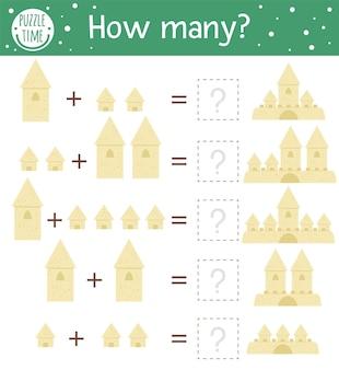 Mathe-spiel mit sandburgen