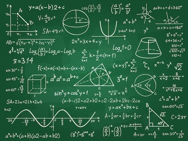 Mathe theorie. mathematikkalkül auf klassentafel. algebra und geometriewissenschaft handgeschriebene formeln vektor-bildungskonzept. formel und theorie auf tafel, wissenschaftsstudie illustration