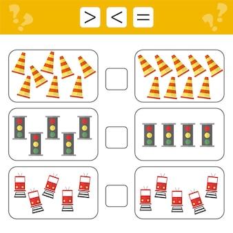 Mathematik lernen, zahlen - wählen sie mehr, weniger oder gleich. aufgaben zur ergänzung für vorschulkinder, arbeitsblatt für kinder. zählspiel - verkehrszeichen