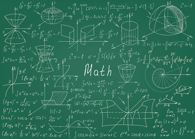 Mathematische formeln eigenhändig gezeichnet auf eine grüne tafel für den hintergrund
