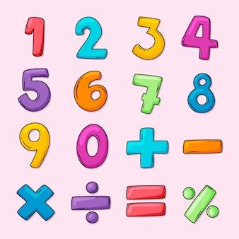 Mathematische symbole setzen hand gezeichnet