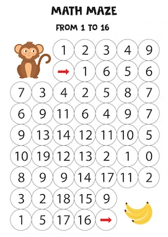 Mathematisches labyrinth für kinder. anzahl. süßer affe geht zu bananen.