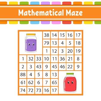 Mathematisches labyrinth. spiel für kinder.