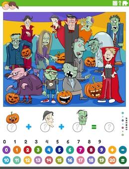 Mathematisches zähl- und additionsspiel mit halloween-zeichentrickfiguren