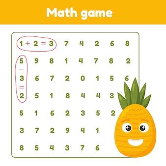 Mathespiel additionssubtraktion arbeitsblatt für kinder im vorschul- und schulalter