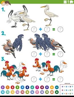 Mathezusatz pädagogische aufgabe mit zeichentrickvogelfiguren