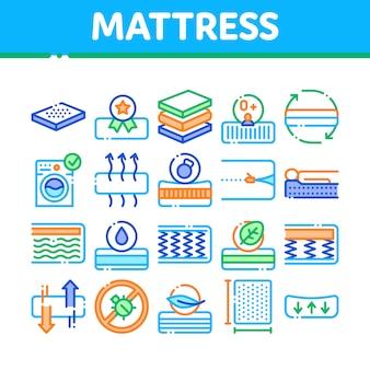Matratze orthopädische sammlung icons set