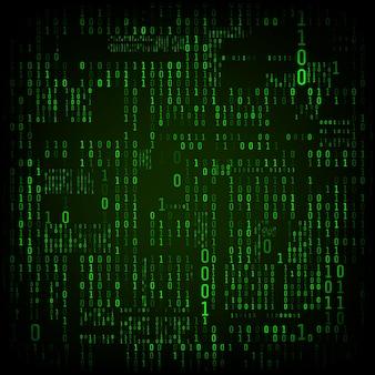Matrix von binären zahlen. binärer computercode. grüne digitale zahlen. futuristischer oder sci-fi-hacker-abstraktionshintergrund. zufallszahlen, die auf den dunklen hintergrund fallen. vektor-illustration