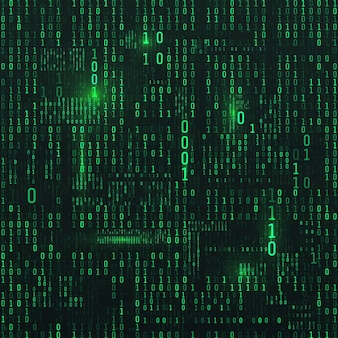Matrix von binären zahlen. science-fiction-hintergrund. binärer computercode. grüne digitale zahlen. futuristische hacker-abstraktionskulisse. zufallszahlen, die auf den dunklen hintergrund fallen. vektor-illustration