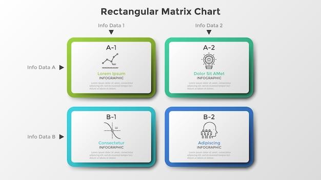 Matrixdiagramm mit 4 rechteckigen weißen papierfeldern, die in reihen und spalten angeordnet sind. tabelle mit vier optionen zur auswahl. saubere infografik-design-vorlage. vektorillustration für geschäftspräsentation.