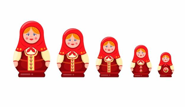 Matroschka oder babuschka-nestpuppe, handgemachtes hölzernes andenkenspielzeug traditionell vom russischen symbol symbol gesetzt in karikatur flache illustration auf weißem hintergrund