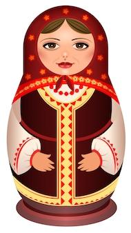 Matroschka-puppe, auch babuschka-puppe, stapelpuppe, nistpuppe oder russische teepuppe genannt