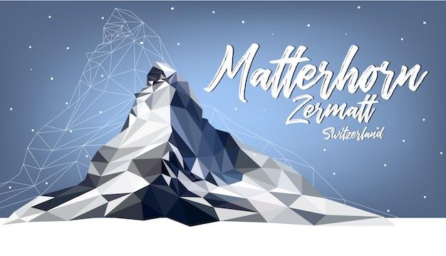 Matterhorn zermatt schweiz polygonfarbe
