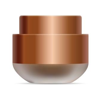 Mattglas für kosmetische creme. goldene mütze 3d