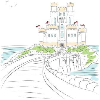 Mauern und türme einer mittelalterlichen burg