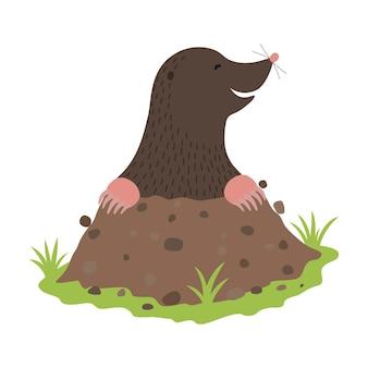 Maulwurf, der aus dem dreck gräbt, tierzeichentrickfigur